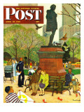 """Romance Under Shakespeare's Statue "" Saturday Evening Post Cover  April 28  1945"