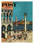 &quot;American Tourists in Venice &quot; Saturday Evening Post Cover  June 10  1961