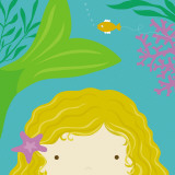 Peek-a-Boo Heroes: Mermaid Reproduction d'art par Yuko Lau