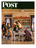 &quot;Getting Ready for School &quot; Saturday Evening Post Cover  February 26  1949