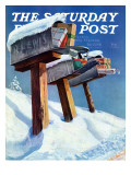 """Mailboxes in Snow "" Saturday Evening Post Cover  December 27  1941"