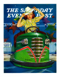 """Bumper Cars "" Saturday Evening Post Cover  June 22  1940"