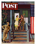 &quot;Two Generations of Vets &quot; Saturday Evening Post Cover  July 5  1947
