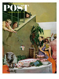 """Stealing Cake at Grownups Party "" Saturday Evening Post Cover  September 10  1960"