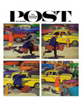 """Rush Hour (4 panel) "" Saturday Evening Post Cover  October 21  1961"