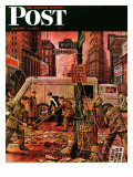 &quot;Times Square Cleanup &quot; Saturday Evening Post Cover  January 4  1947