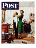 """Readying for First Date "" Saturday Evening Post Cover  October 16  1948"