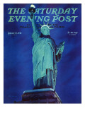 """Statue of Liberty "" Saturday Evening Post Cover  January 10  1942"