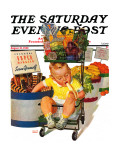 """Lunchtime at the Grocery "" Saturday Evening Post Cover  August 31  1940"