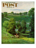 """Green Kentucky Pastures "" Saturday Evening Post Cover  July 29  1961"