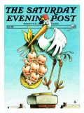 """Stork and Quints "" Saturday Evening Post Cover  April 1  1984"