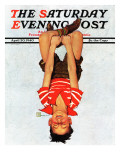 """Hanging Upside Down "" Saturday Evening Post Cover  April 20  1940"