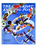 """Squadron Insignia "" Saturday Evening Post Cover  August 23  1941"