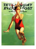 """Dunked Under Water "" Saturday Evening Post Cover  August 9  1941"