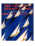 """Sailboat Regatta "" Saturday Evening Post Cover  June 29  1940"