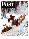 """Winter Sleigh Ride "" Saturday Evening Post Cover  December 17  1949"