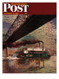 """Paddlewheeler on Ohio River "" Saturday Evening Post Cover  September 21  1946"