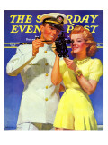"""Naval Officer & Redhead "" Saturday Evening Post Cover  February 8  1941"
