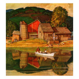 """Farm Pond Landscape "" July 28  1945"