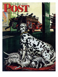 &quot;Dalmatian and Pups &quot; Saturday Evening Post Cover  January 13  1945
