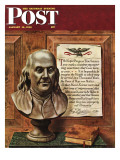 """Benjamin Franklin - bust and quote "" Saturday Evening Post Cover  January 19  1946"