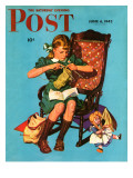 """Knitting for the War Effort "" Saturday Evening Post Cover  June 6  1942"