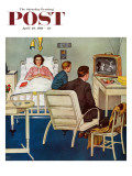 """Baseball in the Hospital "" Saturday Evening Post Cover  April 29  1961"