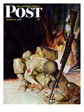 """Medic Treating Injured in Field "" Saturday Evening Post Cover  March 11  1944"