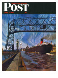 &quot;Ore Barge &quot; Saturday Evening Post Cover  June 14  1947