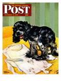 """Muddy Paw Prints "" Saturday Evening Post Cover  December 6  1947"