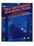 """Nighttime in Port "" Saturday Evening Post Cover  January 13  1940"