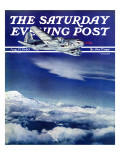 """Flight Above Clouds "" Saturday Evening Post Cover  August 17  1940"