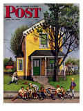 &quot;Baseball Player Mowing the Lawn &quot; Saturday Evening Post Cover  July 20  1946