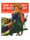 """Gardener in Wheelbarrow "" Saturday Evening Post Cover  May 10  1941"