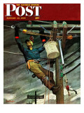 """Telephone Lineman "" Saturday Evening Post Cover  January 10  1948"