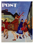 """Wrong Week at the Ski Resort "" Saturday Evening Post Cover  January 14  1961"