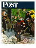 """Shoveling Floral Shop Sidewalk "" Saturday Evening Post Cover  February 28  1948"