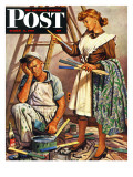 """Picking the Right Color "" Saturday Evening Post Cover  March 8  1947"