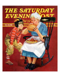"""Grandma and Football "" Saturday Evening Post Cover  October 26  1940"
