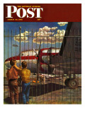 &quot;Boys at Airport &quot; Saturday Evening Post Cover  March 30  1946