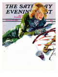 """Tumble from Sled "" Saturday Evening Post Cover  January 27  1940"
