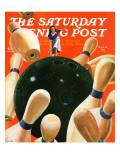 """Bowling Strike "" Saturday Evening Post Cover  March 15  1941"