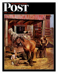 """Blacksmith "" Saturday Evening Post Cover  July 13  1946"