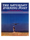 """Airplane Takeoff "" Saturday Evening Post Cover  April 6  1940"