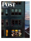"""Office Poker Party "" Saturday Evening Post Cover  August 18  1945"