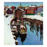 """Gloucester Harbor in Winter "" February 4  1961"