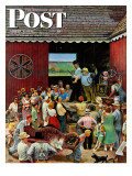 """Country Auction "" Saturday Evening Post Cover  August 5  1944"