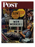"""Men Working "" Saturday Evening Post Cover  April 12  1947"