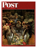 """Post Office Sorting Room "" Saturday Evening Post Cover  December 8  1945"