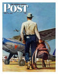 """Flying Cowboy "" Saturday Evening Post Cover  May 17  1947"